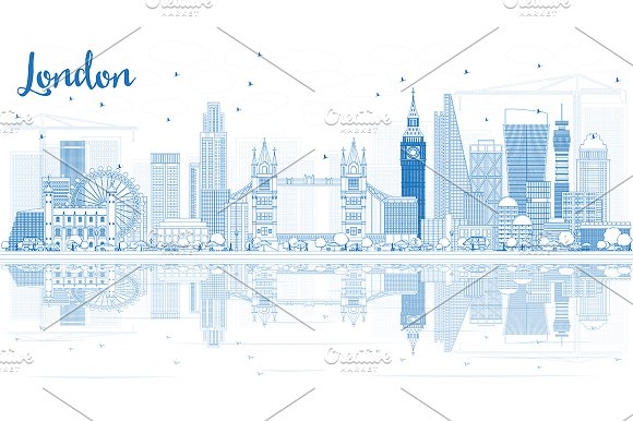 Outline London Skyline