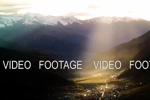 beam of sunset light in autumn mountains with snow timelapse. svaneti, georgia. kavkaz mountains