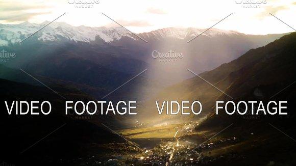 Beam Of Sunset Light In Autumn Mountains With Snow Timelapse Svaneti Georgia Kavkaz Mountains