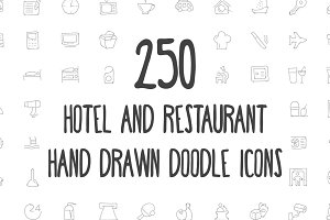 250 Hotel and Restaurant Doodle Icon