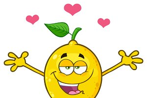 Happy Lemon Fresh Fruit With Hearts