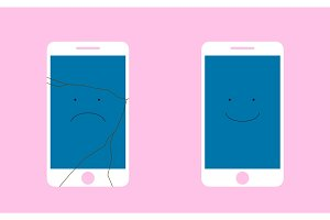 Broken Screen phone with a sad smile, and the whole phone is smiling. Flat vector illustration