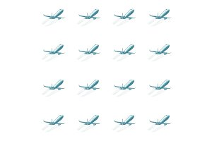 Aircraft aviation airplane air transport seamless pattern isolat