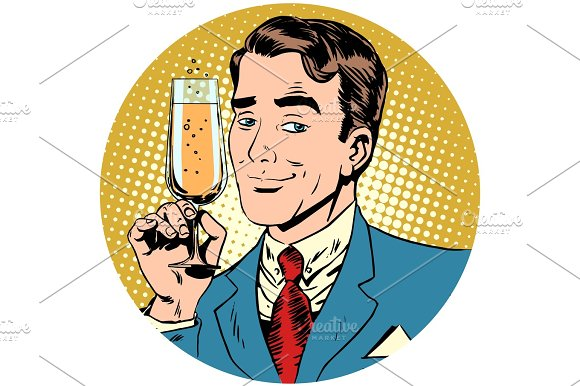 Nice Man With A Glass Of Champagne Sparkling Wine