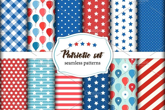 Cute Set Of American Patriotic Red White And Blue Geometric Seamless Patterns With Stars