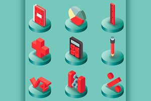 Algebra color isometric icons