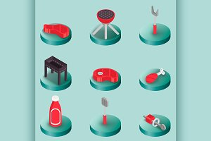 BBQ color isometric icons