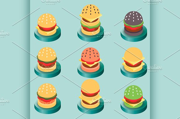 Burgers Color Isometric Icons