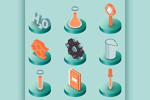 Chemical color isometric icons