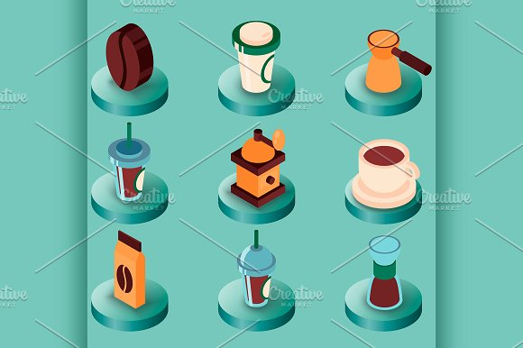 Coffee Colored Isometric Icons