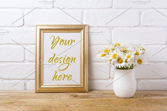 Golden Frame Mockup With Chamomile