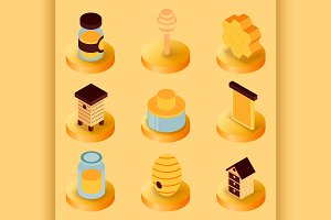 Honey flat isometric icons