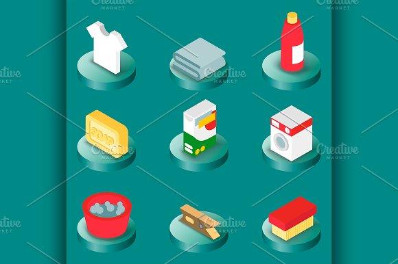 Laundry Flat Isometric Icons