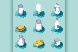 Milk flat isometric icons