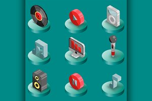 Music color isometric icons
