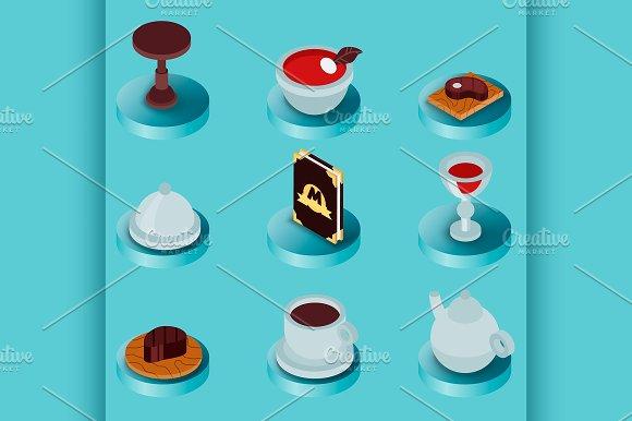 Restaurant Flat Isometric Icons