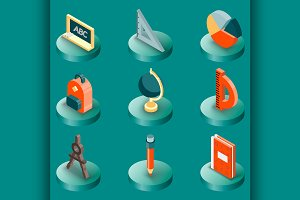 School color isometric icons