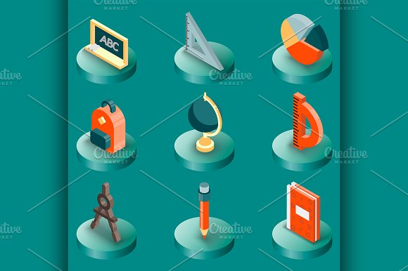 School Color Isometric Icons