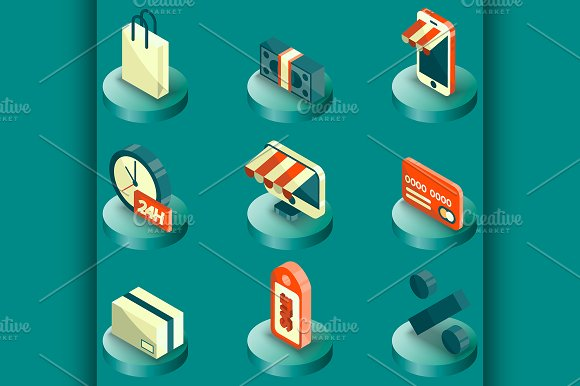 Shopping Color Isometric Icons