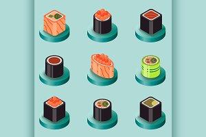 Sushi flat isomeric icons