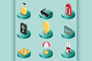 Tourism color isometric icons