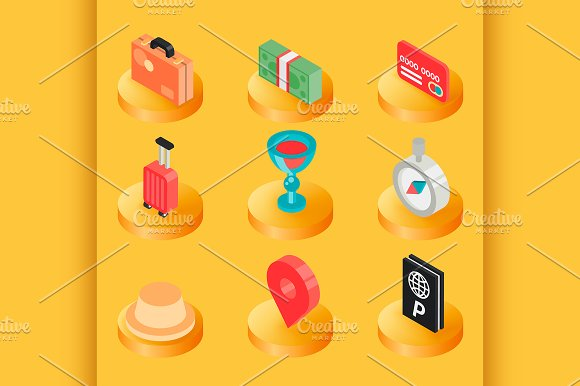 Traveling Color Isometric Icons