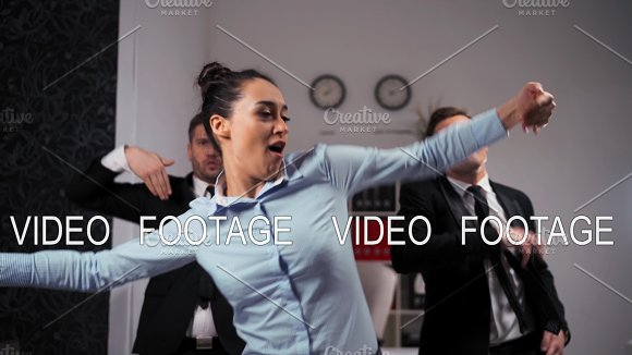 We Happy Of Friday Ending Businesspeople Dancing Cheerfully In Office In Front Of The Camera