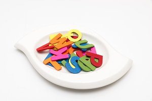 dish of colorful letters