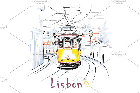 Yellow 28 Tram In Alfama Lisbon Portugal