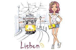 Girl and yellow 28 tram, Alfama, Lisbon, Portugal