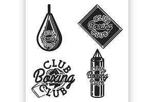 Vintage boxing club emblems
