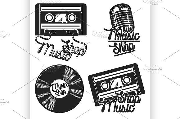 Vintage Music Shop Emblems