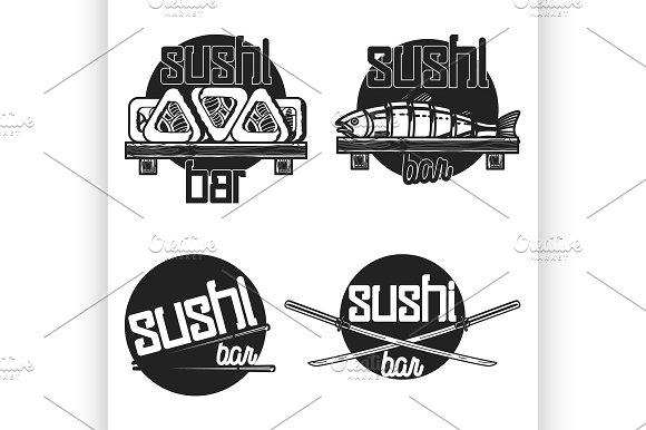 Vintage Sushi Bar Emblems