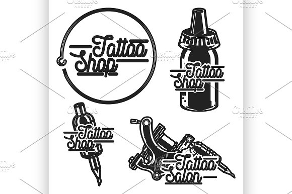 Vintage Tattoo Shop Emblems