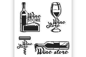 Vintage wine store emblems