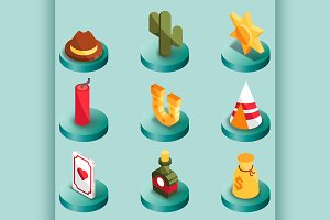 Wild west color isometric icons