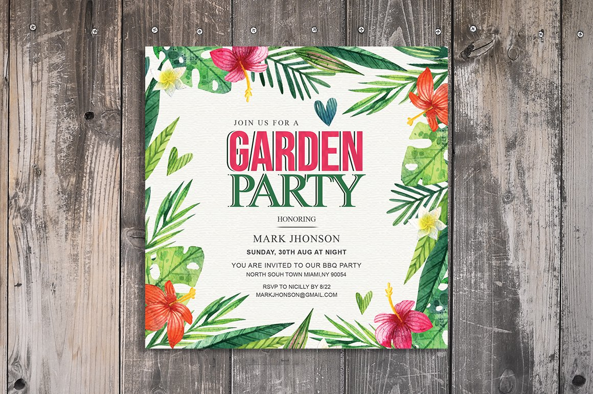 Summer Garden Party Invitation ~ Invitation Templates ~ Creative Market