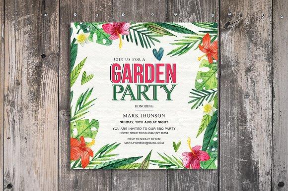 summer garden party invitation invitation templates creative market