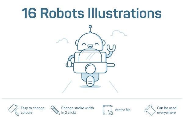 16 Robots Illustrations