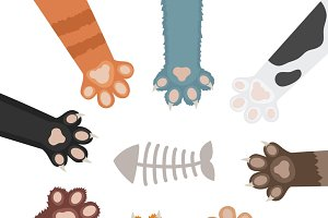 Set of cats paw cartoon illustration