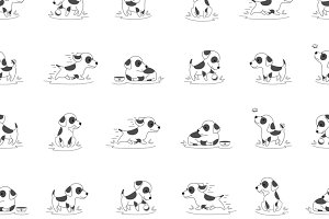 Seamless vector pattern with dog
