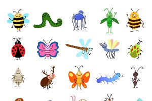 Cute bugs and insects