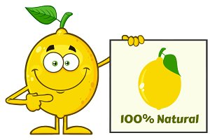 Yellow Lemon Mascot Character