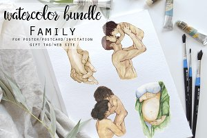 Watercolor bundle Family