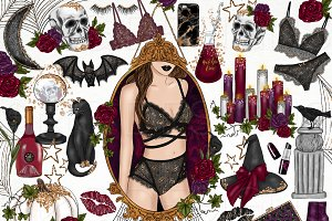 Fashion Girl Halloween Clip Art