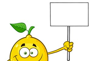 Lemon Fruit Holding A Blank Sign