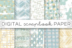 Blue Green Baby Digital Papers