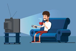 Man watches TV on sofa