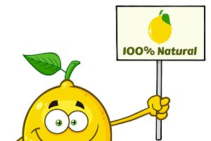 Yellow Lemon Holding A Sign