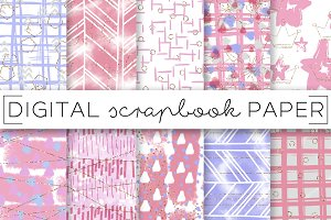 Pink Purple Baby Digital Papers